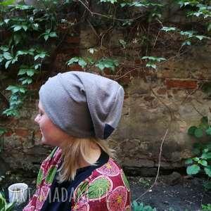hand made czapki czapka szara smerfetka dzianiowa