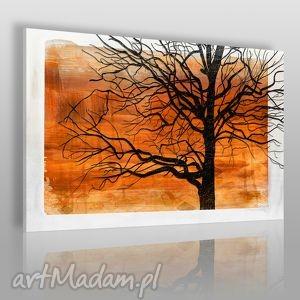 obraz na płótnie - konary pomarańczowy 120x80 cm 17801 , konary, gałęzie, drzewo