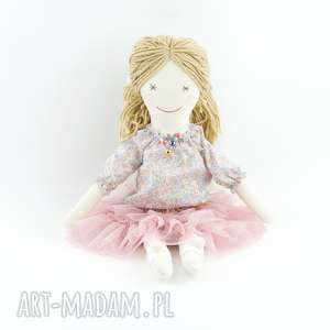 Lala hand made w falbaniastej tutu, lalkaszmaciana, lalkaręcznieszyta, lalkahandmade
