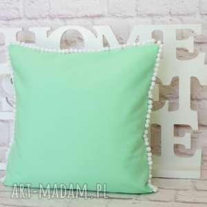 poduszki miętowa pastelowa poduszka z pomponikami 40cm/40cm, poduszka, dekoracyjna