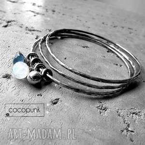 3 bransolety- srebro, kwarc, kamień księżycowy, zestaw bransoletek, srebrne, charmsy