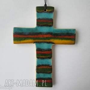 kolorowy krzyż ceramiczny 2, krzyżyk, ceramiczny, na-ścianę, prezent, na-komunię