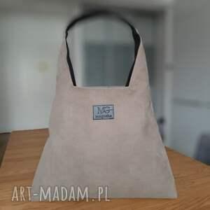 handmade na ramię boba zip xl, kolor ziemi, designerska wodoodporna duża torba