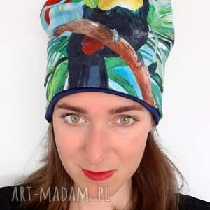 czapka no 26, tukan, malowany egzotyczna wyspa, dżungla, jungla, palmy