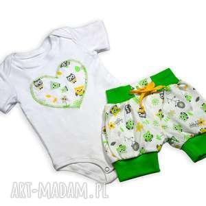 sowy body i szorty, zestaw dla dziewczynki, komplet ubrań na lato niemowląt