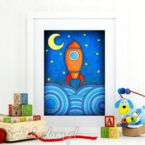 Kosmiczna podróż A3, podróż, kosmos, rakieta, chłopiec, plakat