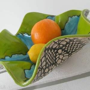 wywijana misa ceramiczna - ,miska,artystyczna,koronkowa,ceramiczna,parapetówka,zielona,