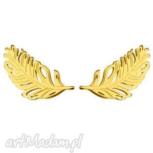 złote kolczyki piórka - pozłacane, kobiece, srebro, modne