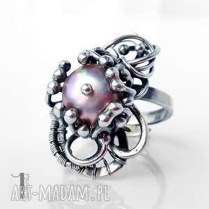 stamnibus ii srebrny pierścień z perłą - szare pierścionki