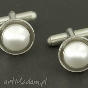 eleganckie spinki do mankietów biała perła swarovski - białe, spinki