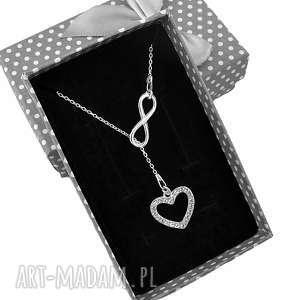 Srebrny naszyjnik krawat Y nieskończoność serce pudełko, srebrny,