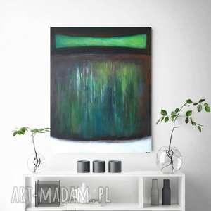 abstrakcja w zieleniach,czerni i bieli-obraz akrylowy formatu 40/50 cm