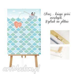 Obraz na płótnie - księga gości - Fale wpisów - morze miłości, ślub, wesele,