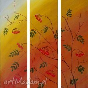 Wspomnienie jesieni- tryptyk, obraz, pejzaż, jesień, akryl, werniks