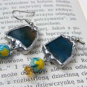kolczyki z niebieskim agatem, z-agatu, kolczyki-wiszące, kontrastowe