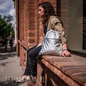 srebrny worek z kieszenią, srebrny, worek, plecak, metaliczny, złoty