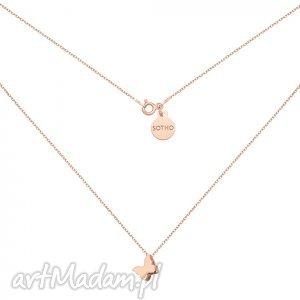 naszyjnik z motylkiem z różowego złota sotho - złote