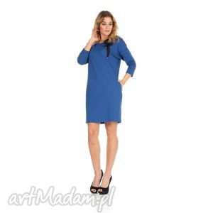 45-sukienka z kokardą,c.niebieska,rękaw 3/4, lalu, sukienka, dzianina, bawełna
