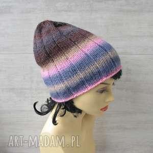 czapka beanie slouchy, kolorowa czapka, zimowa wełniana modna