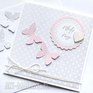 pomysł na święta prezent kartka ślubna :: motyle LIGHT GREY & PINK,
