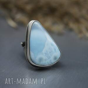 pierścionek z larimarem ohtar, larimar, srebrny pierścionek