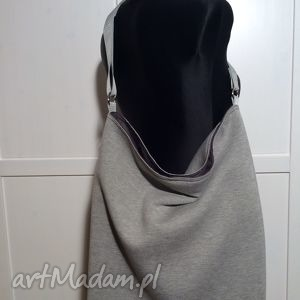 Duża torba miejska dresowa torebki bywkml dresówka, szara, torba