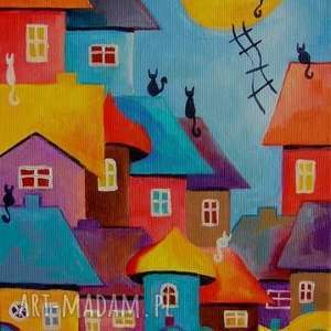 Obraz na płótnie - BAJKOWE MIASTECZKO 30/20 cm, bajka, kolor, akryl, miasteczko