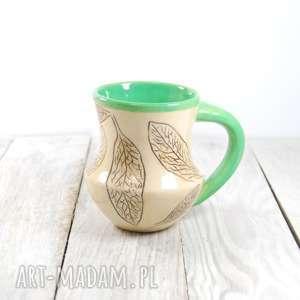 Prezent Kubek ceramiczny sgraffito Liście , walentynki, do-kawy, do-herbaty