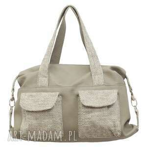torebki 09-0001 szara torba sportowa torebka fitness tit, modne, markowe