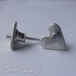 serduszko kolczyki - serce, srebro, cyrkonia