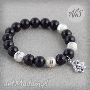 Czarno-srebrna z misiem - ,czarna,szklane,korale,miś,zawieszka,gumka,