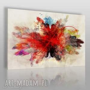 obraz na płótnie - abstrakcja czerwony 120x80 cm 74801, abstrakcja, nowoczesny