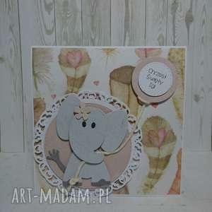 Zaproszenie kartka slonik w piórach scrapbooking kartki the