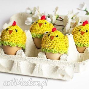 dekoracje zestaw 6 ocieplaczy na jajka kurczaczki, kurczak, wielkanoc, kurczaczek