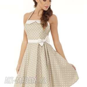 piękna rozkloszowana sukienka pin up beżowy w groszki, retro