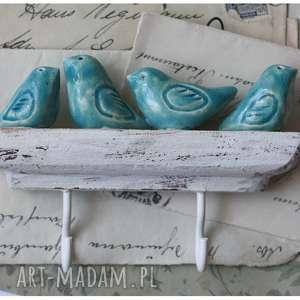 Wieszak z 4 turkusowymi ptaszkami, ceramika, wieszak, ptak