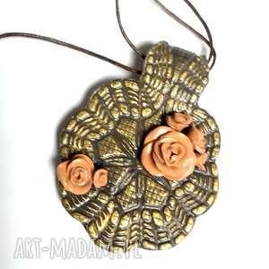 ręcznie zrobione naszyjniki naszyjnik lepiony w odcieniach złota i brązu