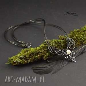 moon - naszyjnik z kamieniem księżycowym, naszyjnik, miedź, wire-wrapping