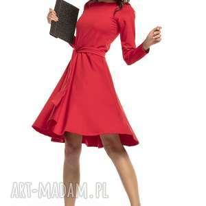 sukienki elegancka rozkloszowana sukienka z dzianiny, t287, czerwony