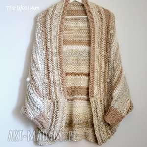 big sweter, kardigan, ponczo, wełniany, na-drutach