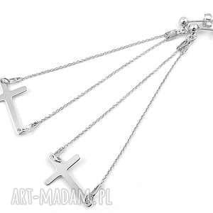 długie, srebrne kolczyki celebrytki krzyż, kolczyki, modne