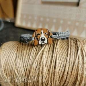 bransoletka beagle, ręcznie malowana, pleciona bransoletka, pies