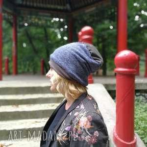 czapka damska męska unisex szaro niebiesko melanżowa, czapka, etno, boho, sport