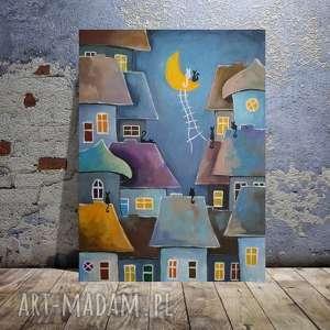 BAJKOWE MIASTECZKO NOCĄ - obraz akrylowy formatu 30/40 cm, bajka, akryl, miasteczko
