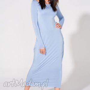 tessita sukienka maxi, t143, niebieska, sukienka, dzianina, wiskoza, luźna
