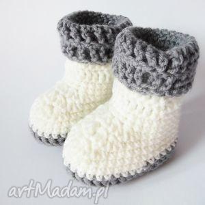 buciki szydełkowe białe, buciki, szydełkowe, botki dla dziecka