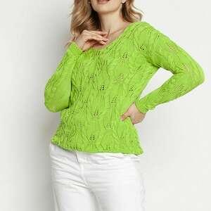 mkm swetry dzianinowa ażurowa bluzka - swe145 jasny zielony mkm
