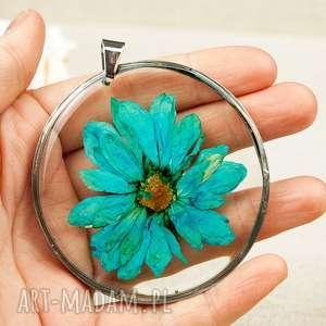 Prezent Naszyjnik z błękitną margerytką z13, naszyjnik-niebieski, niebieski-kwiat
