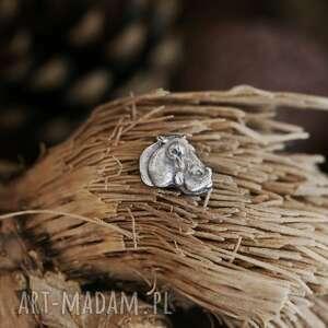 hipopotam mini broszka ze srebra mini przypinka ze srebra, biżuteria