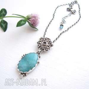 Blue Lake Amazonite, kobiecy, romantyczny, boho, srebro, amazonit, grecki